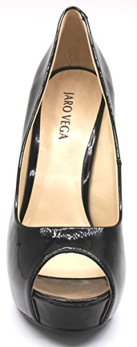 Jaro Vega Dames Open Teen Platform Stiletto Pumps Zwart-synchroon