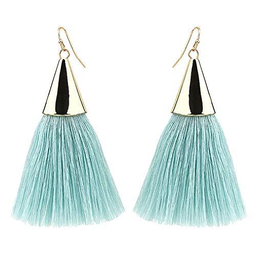 Fashion Jewelry Boho Tassel Earrings Women New Brightness Gold Color Alloy Wide Fringed Drop Earrings -