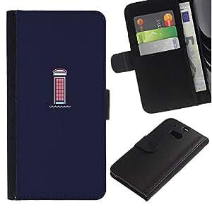 For HTC One M8,S-type® Window Purple Pink London - Dibujo PU billetera de cuero Funda Case Caso de la piel de la bolsa protectora
