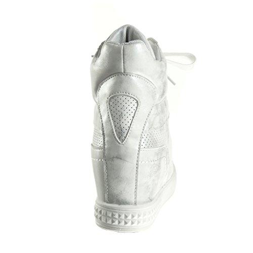 Angkorly - Zapatillas de Moda Deportivos Plataforma altas zapatillas de plataforma stile vendimia mujer perforado brillantes Talón Plataforma 6 CM - Plata