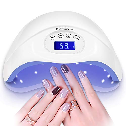 - 48W UV Nail Lamp, CHIMOCEE Nail Dryer with Automatic Sensor and Switch for Both Fingernails or Toenails, Professional UV Light for Gel Nails with Timer Setting for Salon or Nail Lovers