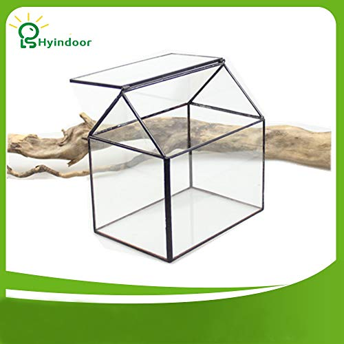 Fotcus - Garden Supplies Flower Pots Roof-style House Shape Glass Container Display Flowers Pot Bonsai - (Color: Clear, Sheet Size: 15.5X11.0X16.0)