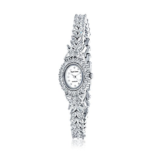 (Bling Jewelry Oval MOP Dial CZ Butterfly Womens Dress Watch Rhodium Plated)
