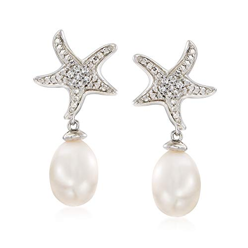 (Ross-Simons 6-7mm Cultured Pearl and White Topaz-Accented Starfish Drop Earrings in Sterling Silver)