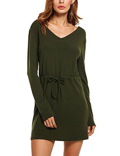 Zeagoo Women's Casual Long Sleeve V Neck Shirt Drawstring Dress, Pastel (60s Themed Outfits)