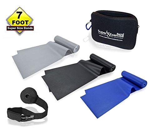 Stretch Latex (SUPER EXERCISE BAND® Heavy Strength 7 ft Latex Free Resistance Bands Set of 3 / Stretch Bands for Physical Therapy & Strength Training / Travel Pouch, Door Anchor & Fitness)