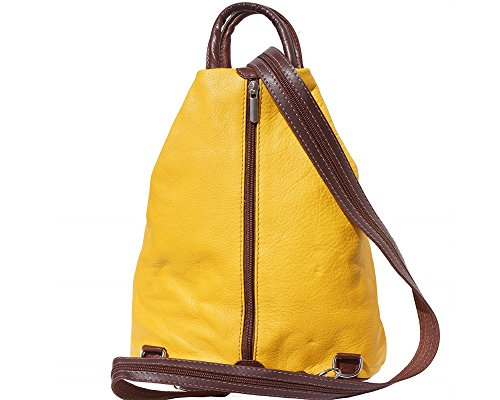 Florence Leather 207 - Bolso mochila  para mujer negro, Bordeaux & Tan (multicolor) - 207 Yellow & Brown