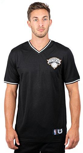 UNK NBA NBA Men's New York Knicks Jersey T-Shirt V-Neck Air Mesh Short Sleeve Tee Shirt, Large, Black