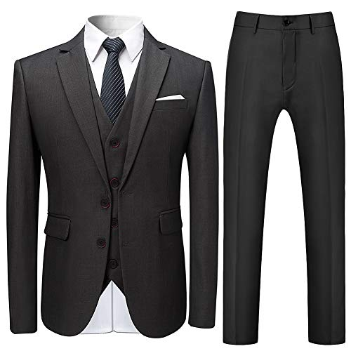 Mens Stylish 3 Piece Dress Suit Classic Fit Wedding Formal Jacket & Vest & Pants Gray