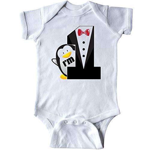 inktastic - 1st Birthday Tuxedo Penguin Infant Creeper 24 Months White ()