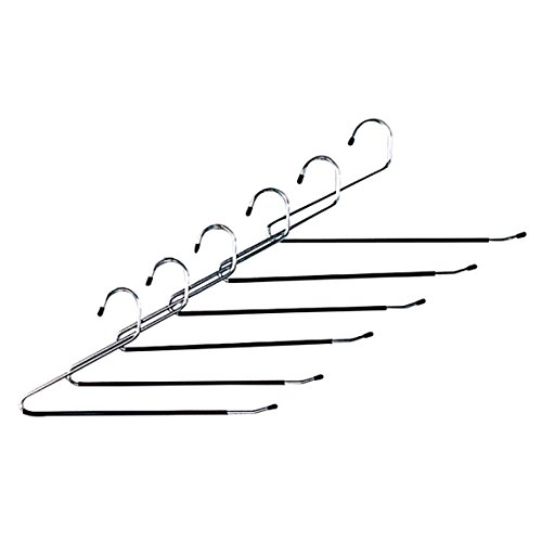 Chrome Plated Metal Non-Slip Open Ended Hangers with Sure-Grip Coating for Pants, Jeans, Slacks, Towels, Scarfs, Clothing for Closet Space Saving, Bedroom Hooks (12 Pack)