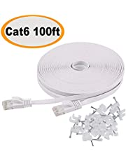 Cat 6 Flat Ethernet Cable White– Slim Long Network Cable – Jadaol Fast Ethernet Patch Cable – with Snagless Rj45 Connectors