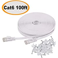 Cat 6 Ethernet Cable 100 ft Flat White, Slim Long...