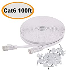 Cat 6 Ethernet Cable 100 ft Flat White, ...
