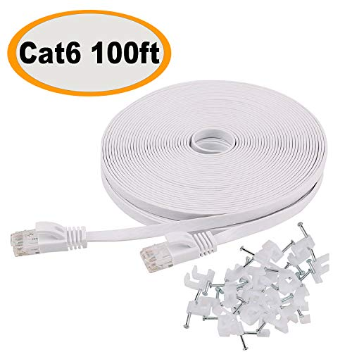 Cat 6 Ethernet Cable 100 ft Flat White, Slim Long Internet Network Lan patch cords, Solid Cat6 High Speed Computer wire with clips & Rj45 Connectors for Router, modem, faster ()