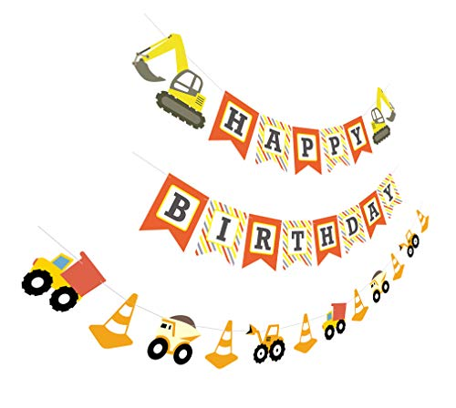 Construction Birthday Banner | Bday Sign Bunting Garland | Truck Excavator Party Decoration for Boy -