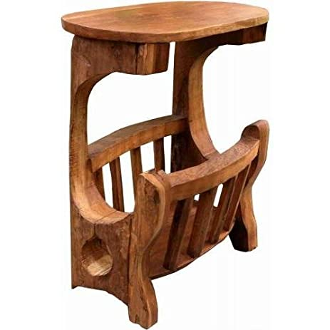 Rustic Carved Wood Magazine Rack W Table