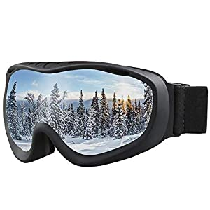 ALKAI Ski Goggles, Snowboard Goggles, Anti Fog 100% UV Protection, Double Layer Spherical Lenses, Helmet Compatible Medium Fit Snow Goggles for Men & Women