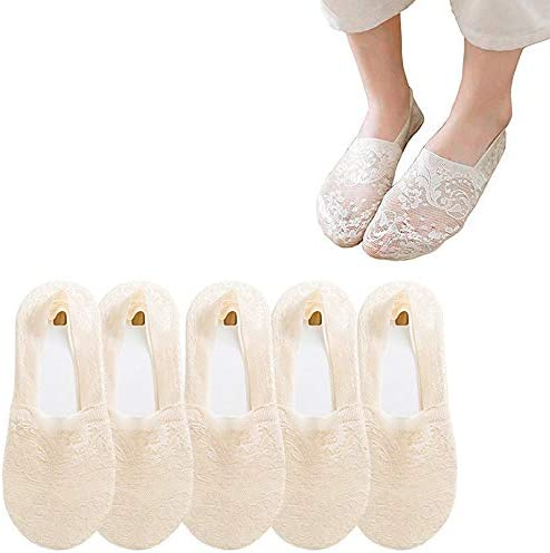 5Pairs Women Lace Socks Boat Invisible Anti-Skid Low Cut No-show Non-Slip Liner