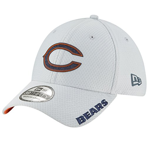 New Era Mens Gray Chicago Bears 2018 NFL Training Camp Official 39THIRTY Flex Hat (Chicago Bears Mens Accessories)