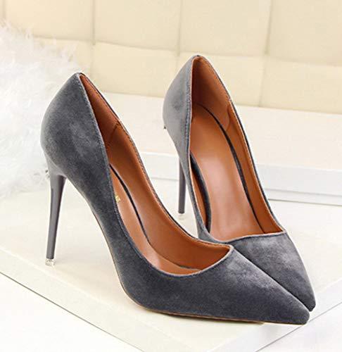 Femme Aiguilles Chaussures Gris Bevalsa 10 Stilettos Cm Escarpins Talons Shoe Heel Sexy High zSagSq5
