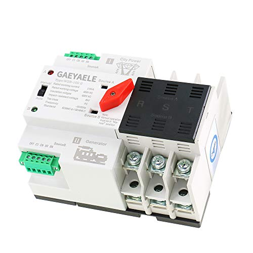 GAEYAELE W2R-3P Din Rail Mounted Automatic Transfer Switch Three Phase ATS 100A Power Transfer Switch (W2R 3P 100A)