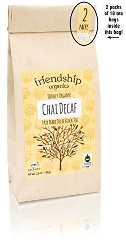 Decaf Chai, Caffeine Free Spice Tea, Organic and Fair Trade, 36 tagless sachets