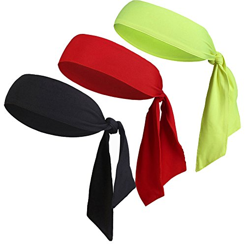 V-SPORTS Dri-Fit Sports Head Tie Headband Sweatband Performance Elastic and Moisture Wicking for Running/Basketball/Tennis/Yoga/Pirates/Athletics/Working Out, Red/Yellow/Black, 3 Piece -