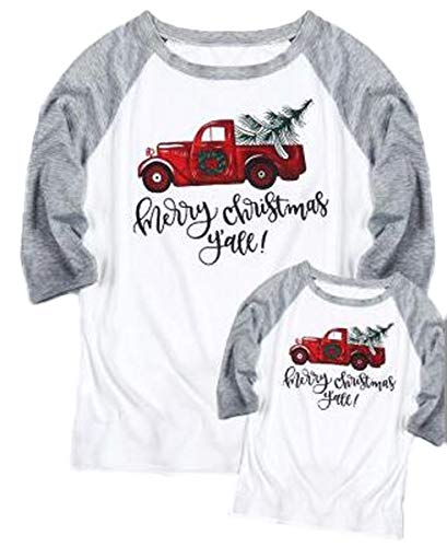 (Merry Christmas Y'all Family Matching Shirt Mommy and Me Truck Tree Cute Tees Baseball Tops Size Kid 3T)