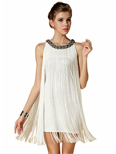 BABEYOND Women's Flapper Dresses 1920s V Neck Beaded Fringed Great Gatsby Dress (Small, (Used Flapper Dress)