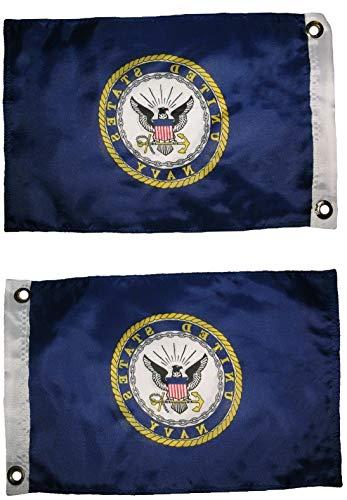 Hebel 12x18 U.S. Navy Crest Seal 2 Faced 2-ply Wind Resistant Flag 12x18 Inch Grommets | Model FLG - 1040
