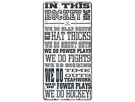 Hockey Home Vintage Wooden Sign