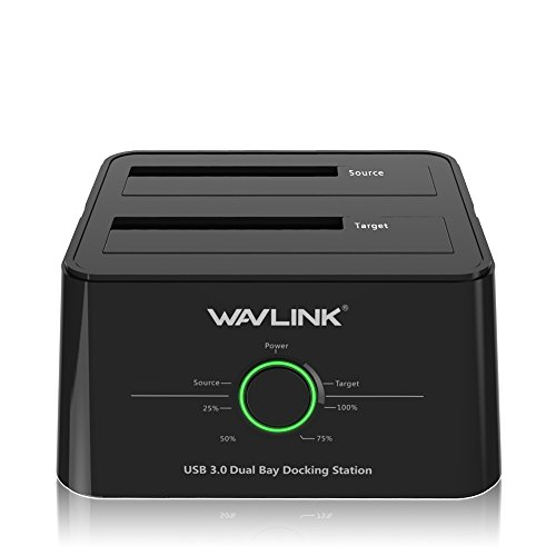 WAVLINK USB 3.0 to SATA (5Gbps) Dual-Bay Hard Drive Docking Station For 2.5 inch/3.5 Inch HDD,SSD Support Offline Clone / Backup /UASP Functions [8TB×2 ]-Black