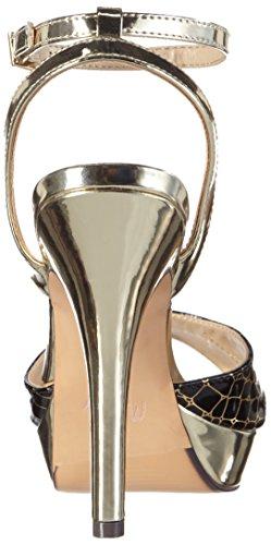 MENBUR Olmo - Sandalias de tobillo Mujer Mehrfarbig (Schwarz/Gold)