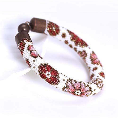 Amazoncom White Pink Red Bead Crochet Bracelet With Flower Dainty