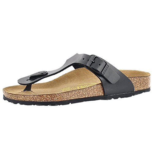 Price comparison product image Birkenstock Girls' Gizeh Cork Footbed Thong Sandal - Narrow Black 33 N EU