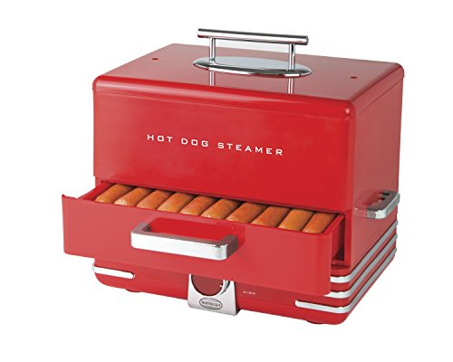 Nostalgia Large HDS248RD INNOVA Diner Style Hot Dog Steamer, Red