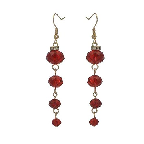 DAGNY Gold tone Red Cascade Hook Earrings