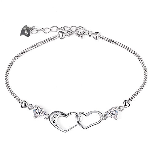 B.Catcher Bracelet Womens 925 Sterling Silver Double Heart Charm Pendant Plated with Cubic Zirconia Valentines Day GIft