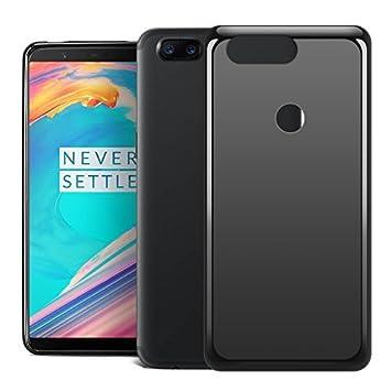RIFFUE Funda OnePlus 5T, One Plus 5T Carcasa Transparente Silicona Ultra Slim Suave Delgada Case Protectora de Gel [Matte] para OnePlus 5T - Negro