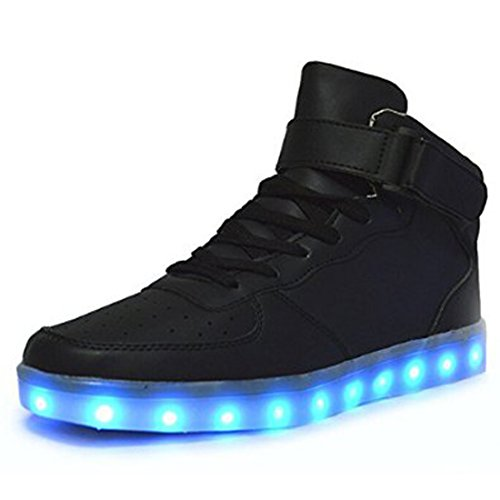 GreatJoy Kids/Adults Cool Gift Gold Light Up LED Shoes/Sneakers 7 Color Flashing Pattern USB Charging (46EU/13B Women/11.5D Men, (Disco Shoes For Mens)