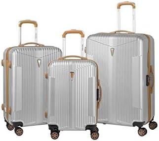 Murino IOA - Juego de 3 maletas, 2 tamaños y 1 tamaño cabina, color plateado