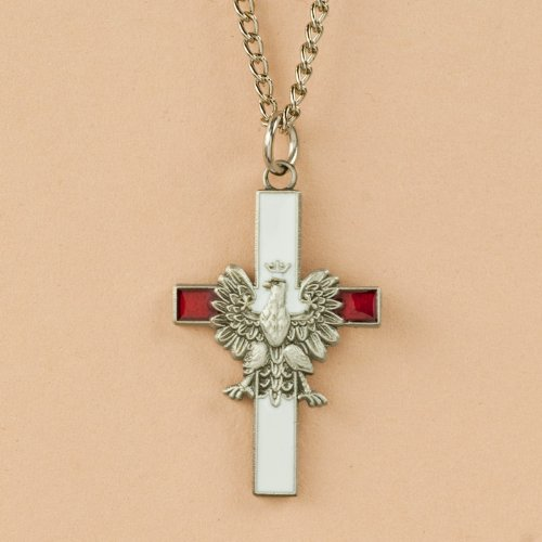- Necklace - White Eagle Cross, Red & White
