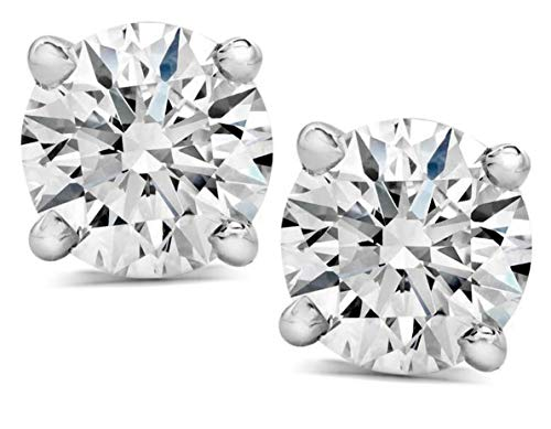 1 Ct TCW Solitaire Diamond Stud Earrings For Women Round Cut Natural Diamond Certified G-H SI1-SI2 14K White Gold
