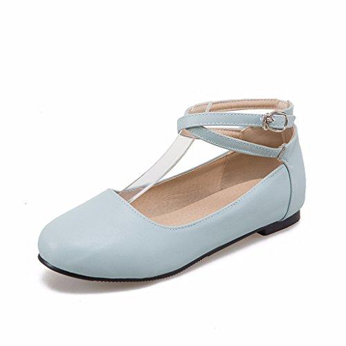 Odetina Womens Pu Balletto Piatto Mary Jane Scarpe Da Ballo Con Cinturino Incrociato Blu Alla Caviglia