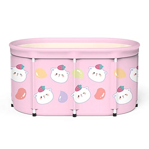 Foldable Bathtub Portable Soaking Bath Tub,Eco-Friendly Bathing Tub for Shower Stall, Adult Foldable Tub (Pink Bear,Single barrel bath barrel and insulation)