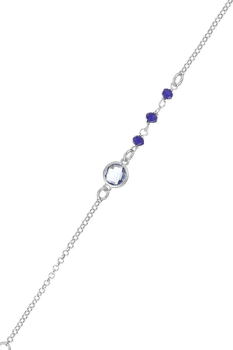 Córdoba Jewels |Pulsera en Plata de Ley 925 con Piedra semipreciosa y Swarovski con diseño Dolce Mini Calcedonia Swarovski Silver