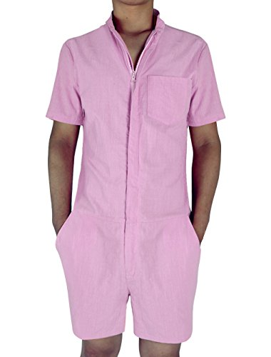 e53e1c81eb7 Leapparel Mens Casual Short Sleeve Jumpsuit Romper Suit with Zipper and  Grandad Collar One Piece
