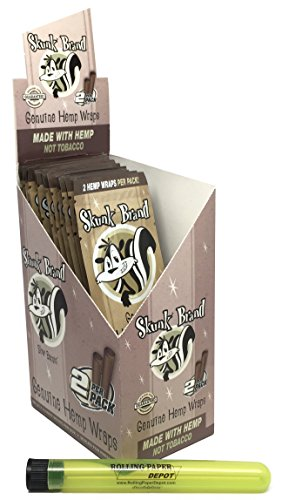 Skunk Hemp Wraps (25 Packs/Full Box) with Rolling Paper Depot Kewltube (Rolling Papers Skunk)