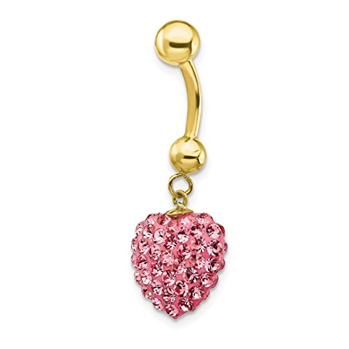 Dangle Heart Gold Belly (ICE CARATS 10kt Yellow Gold Dangle Pink Crystal Heart Belly Button Rings Screw Navel Bars Body Piercing Naval Fine Jewelry Ideal Gifts For Women Gift Set From Heart)